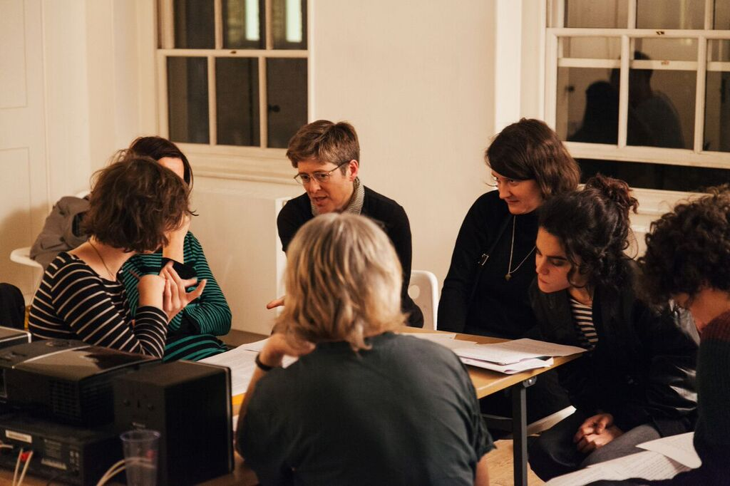 Nina Wakeford with participants in Feeling Backwards, Raven Row, London, as part of Now You Can Go. Photo Christian Luebbert.