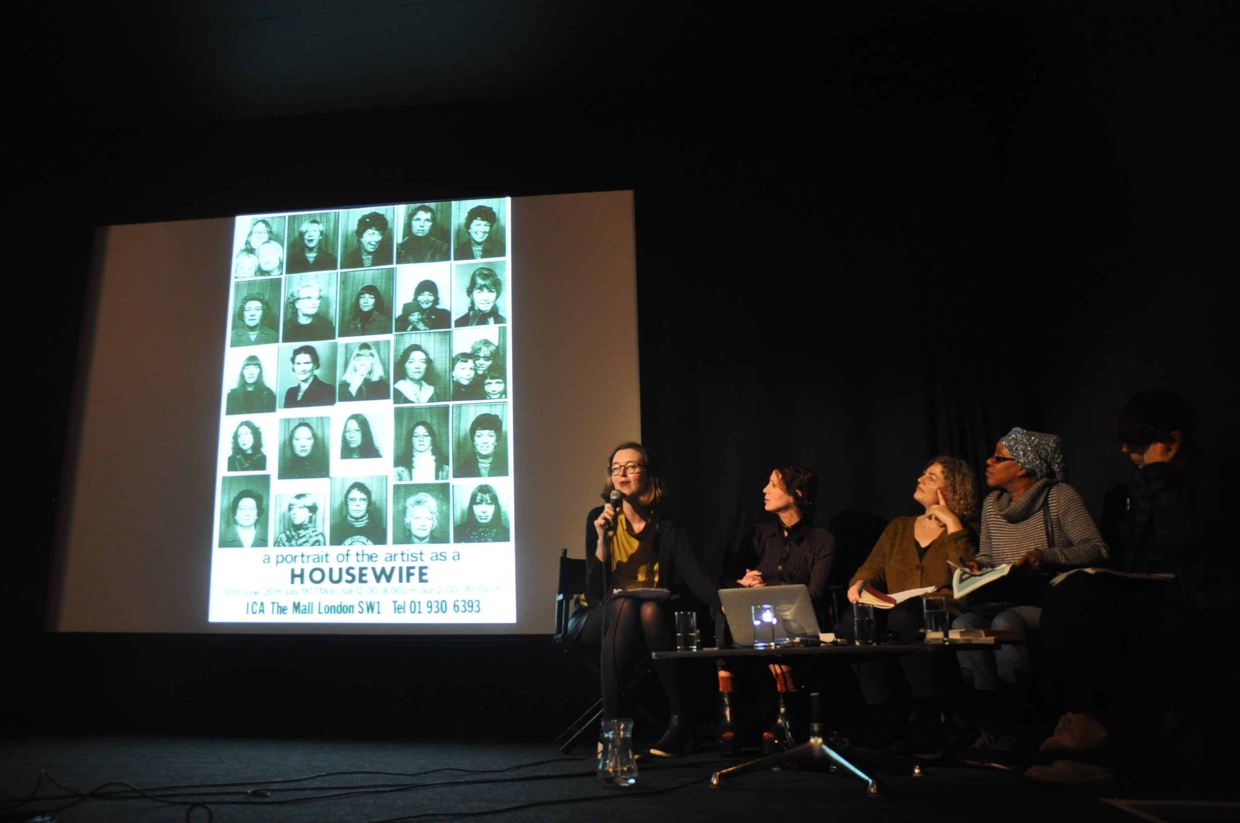 Amy Tobin, Valeria Napoleone, Lisa Panting, Sonia Boyce, and Lois Keidan, Rescue Missions, ICA London, as part of Now You Can Go. Photo: Ehryn Torrell.
