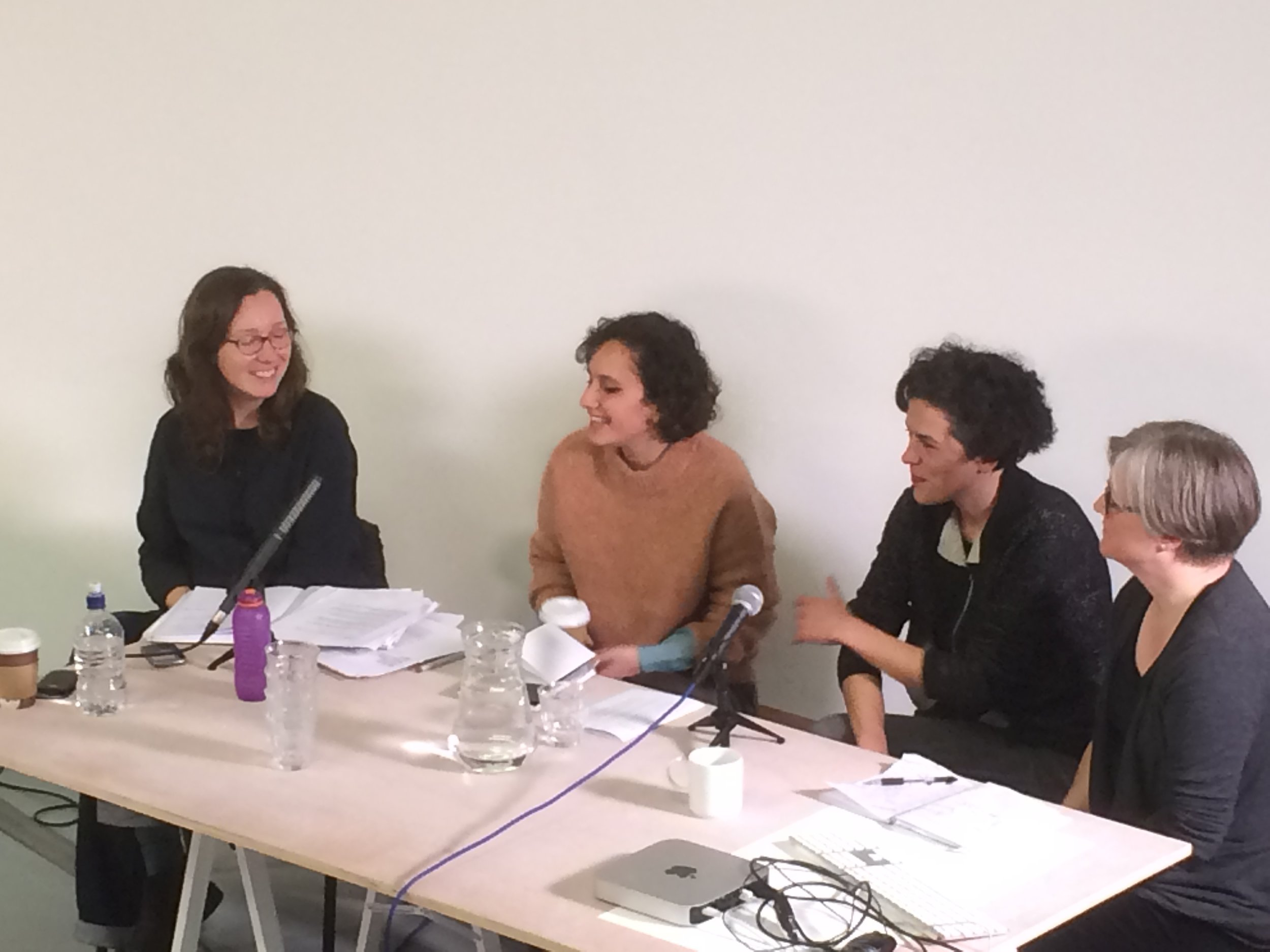 Catherine Grant, Andrea Francke, Carla Cruz, Caroline Russell, In or Out? panel, The Showroom, London, as part of Now You Can Go. Photo Helena Reckitt