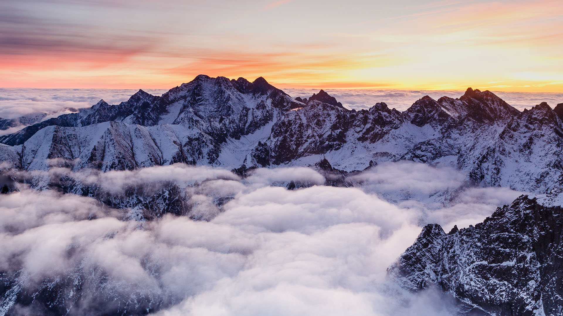 Mountain Range with Snow and Cloud