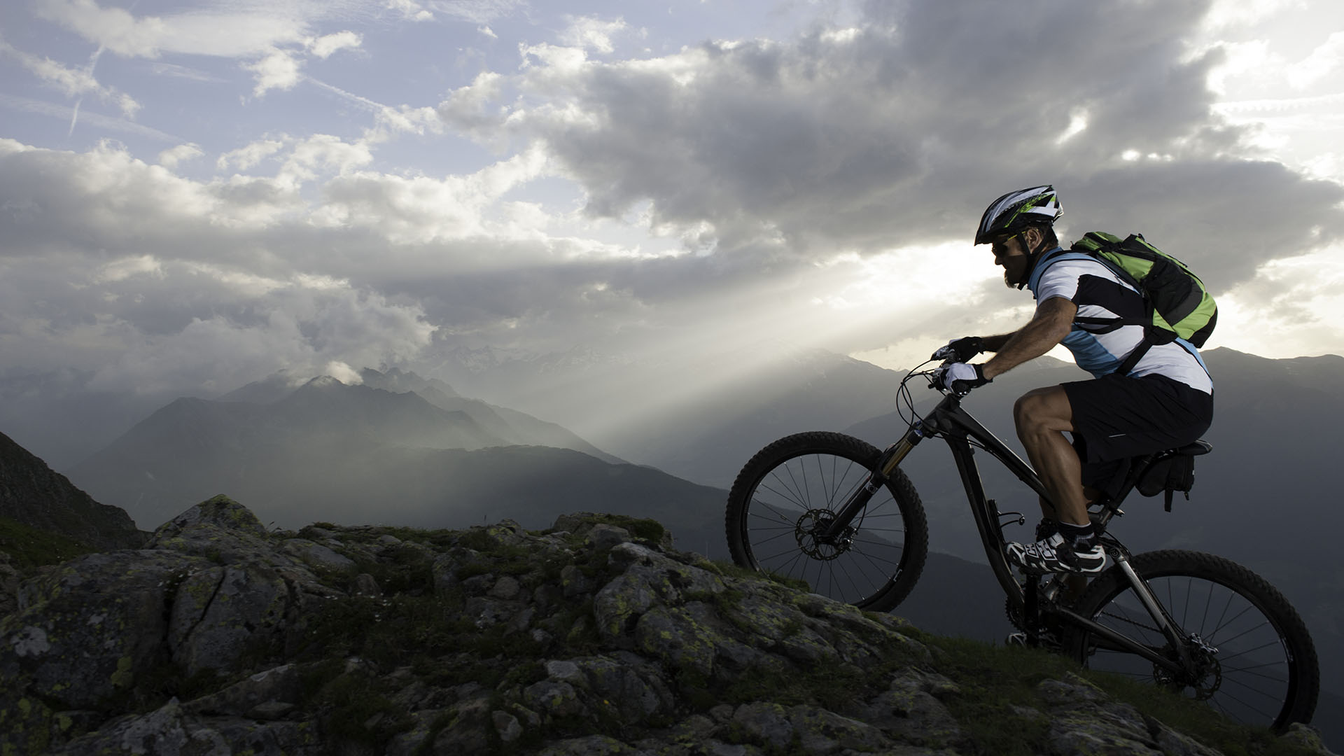 Mountain Biker Summitting