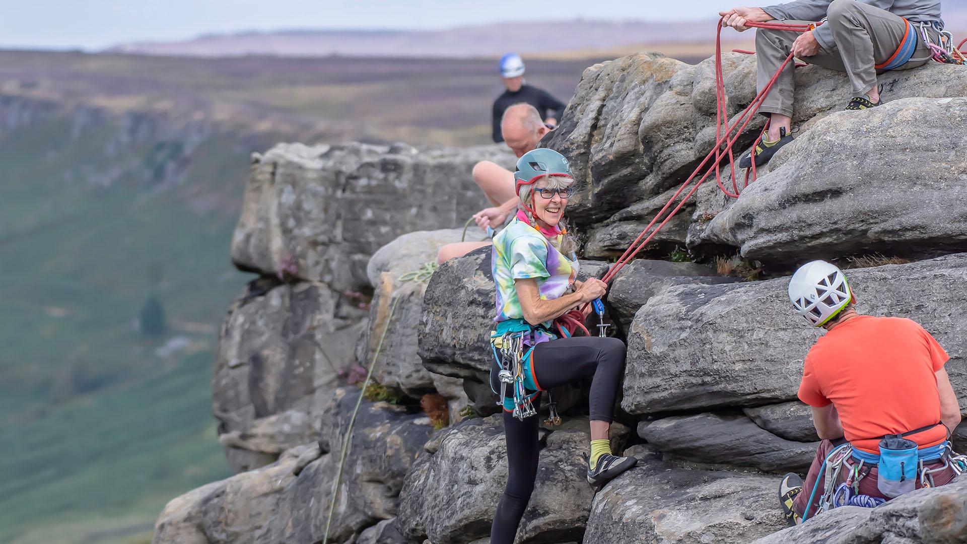 Climbing on Stanage Edge