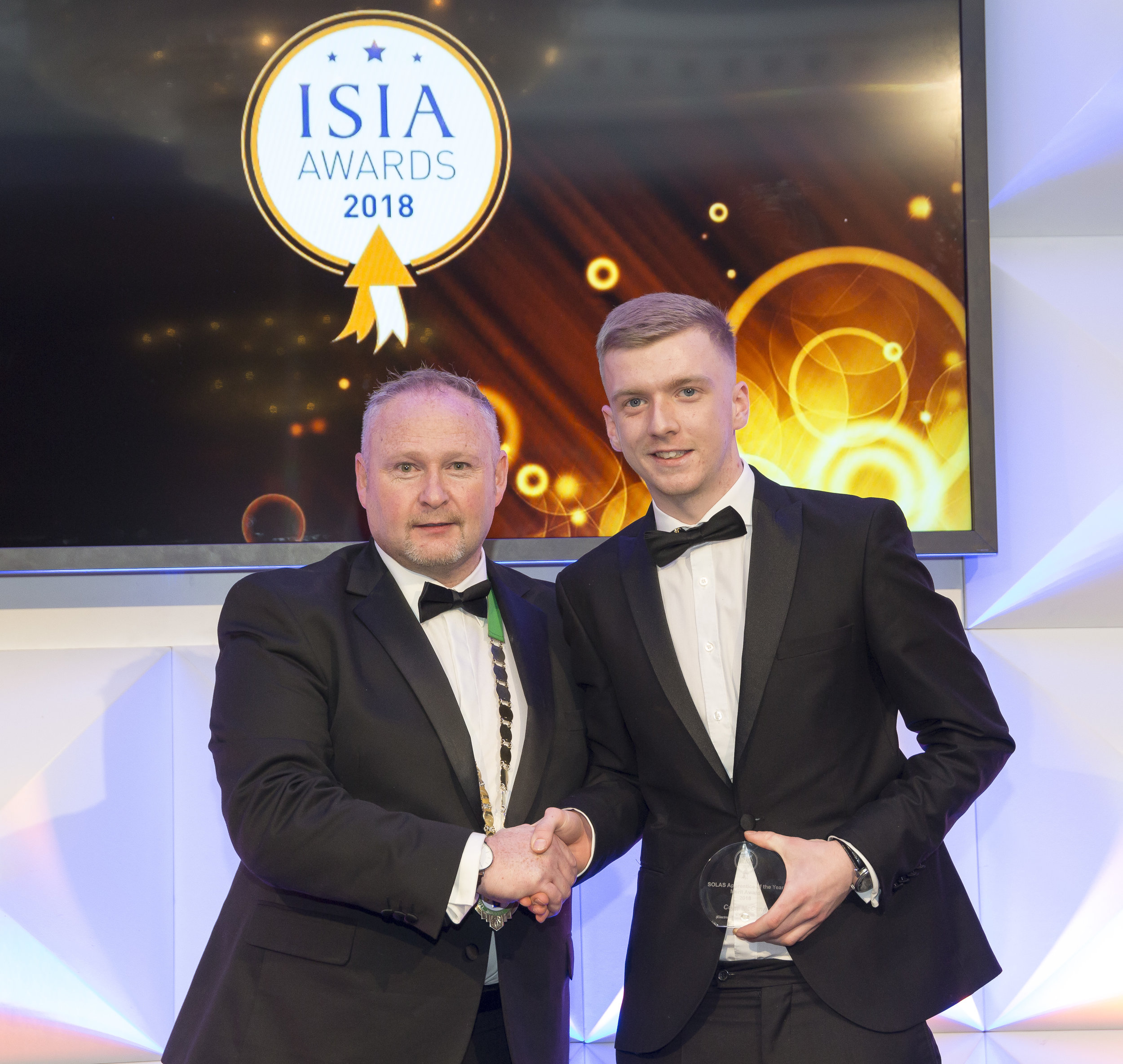 Colm McCann receiving his award for 'Solas Apprentice of the Year'