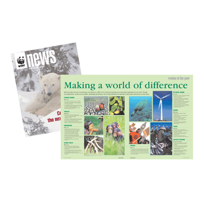 I provided design and picture research, in close liaison with text editors, for WWF News every quarter for a 10 year period. The magazine goes out to WWF members and provides an overview of WWF's work in the UK and worldwide.