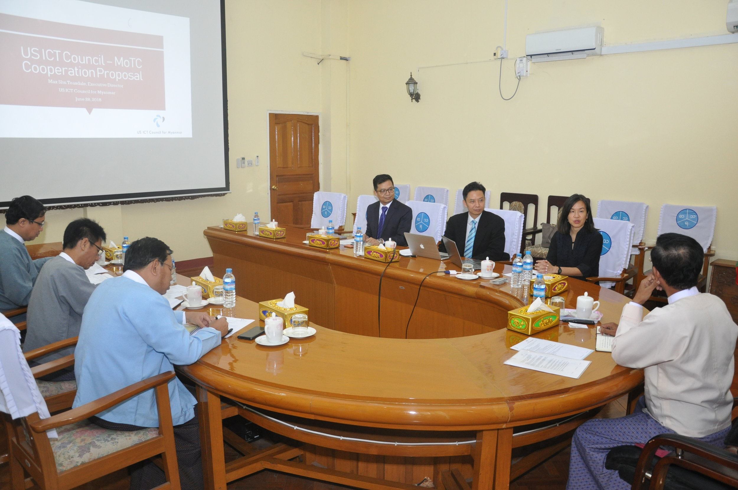 US ICT Council members meet with Deputy Minister of Transport & Communications, U Tha Oo in Naypyitaw