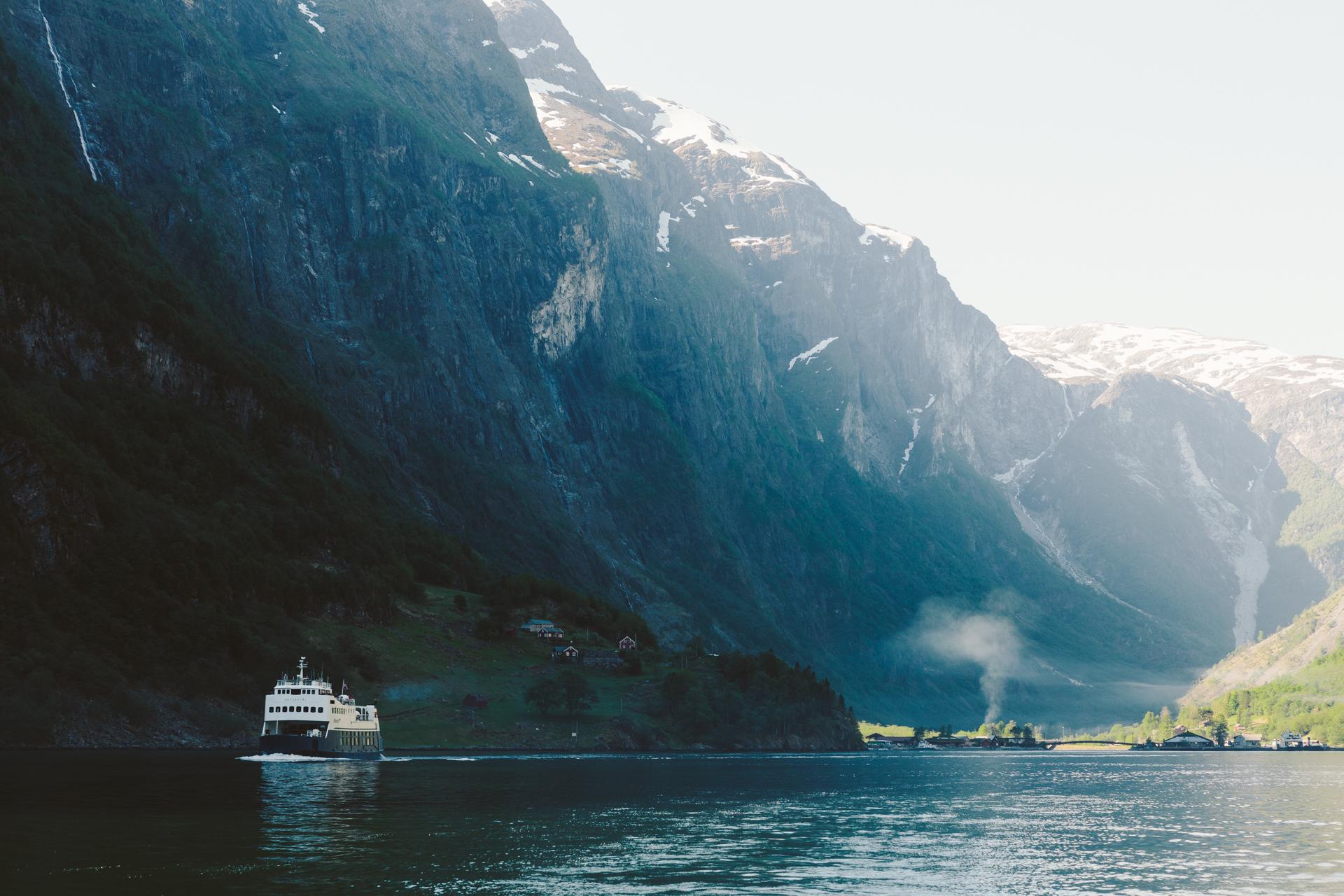 The car ferry  Skagastøl  heading towards Gudvangen