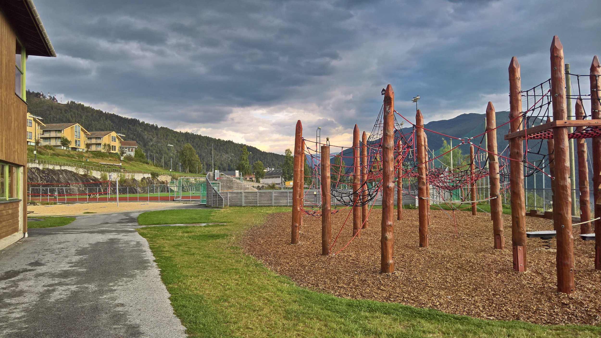 Playground by the primary school in Balestrand