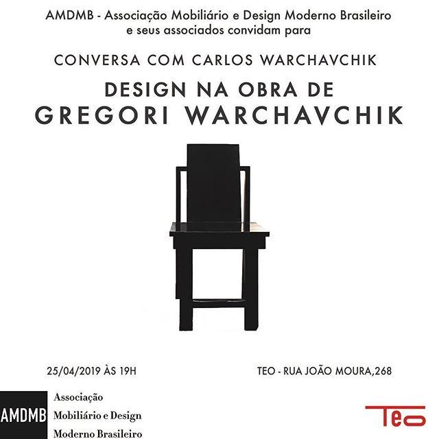 Inscrições abertas para a conversa com Carlos Warchavchik, que falará sobre o design na obra de Gregori Warchavchik. Esse segundo encontro promovido pela @amdmb.brasil acontecerá dia 25/04 às 19h na @lojateo. Garante seu ingresso pelo Sympla (link clicável na bio) #amdmb