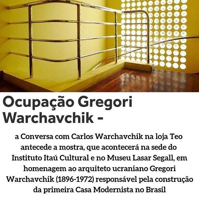 A conversa com Carlos Warchavchik promovida pela @amdmb.brasil amanhã na @lojateo antecede a mostra em homenagem ao arquiteto ucraniano Gregori Warchavchik que acontecerá a partir do próximo sábado no @itaucultural e no @museu_lasar_segall. Imperdível!!!! Para participar da conversa clique no link da nossa bio #gregoriwarchavchik #warchavchik