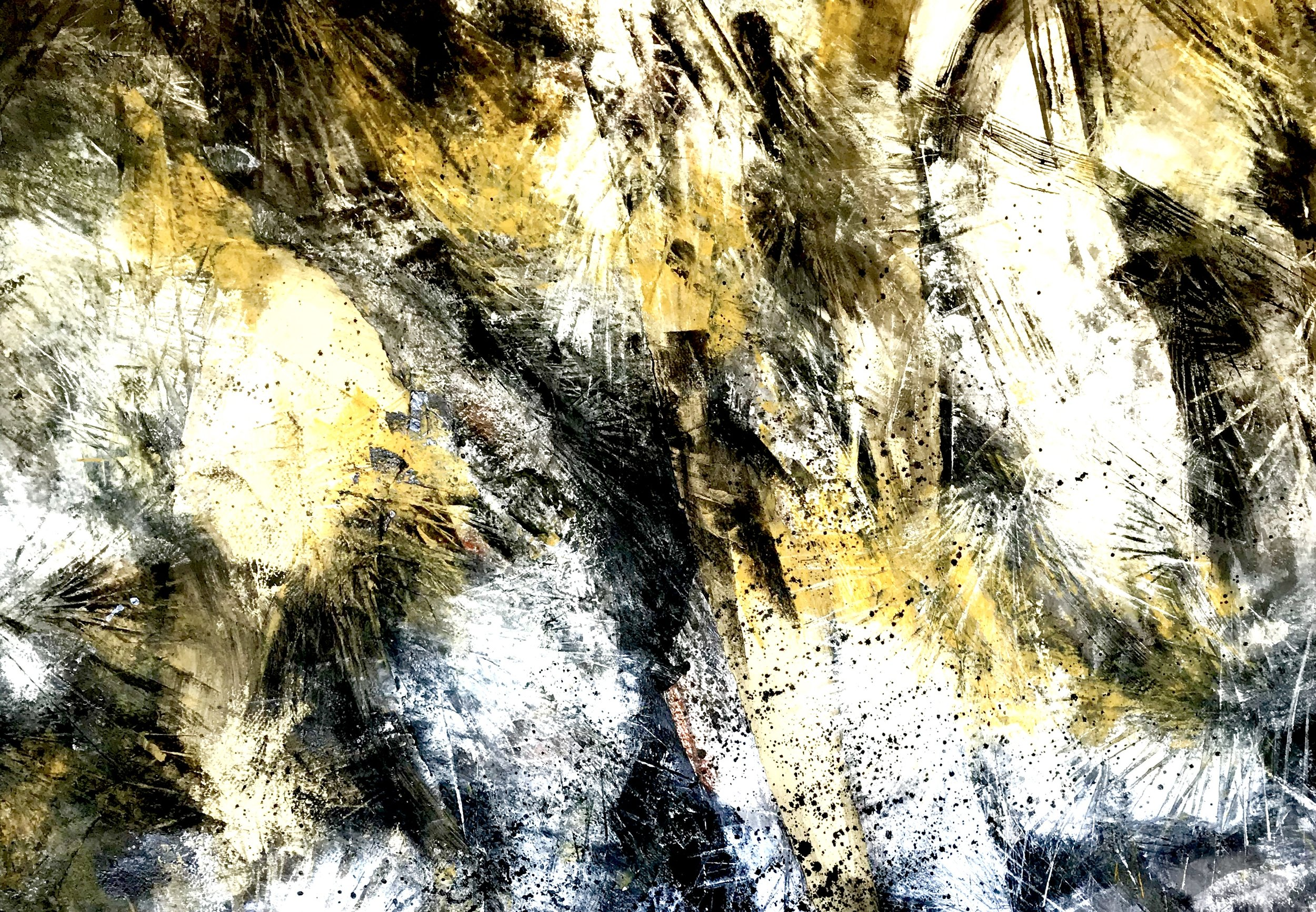 Whitesands cliffs: oil, wax, Chinese ink and pigment on Khadi paper: 100 x 140cm.