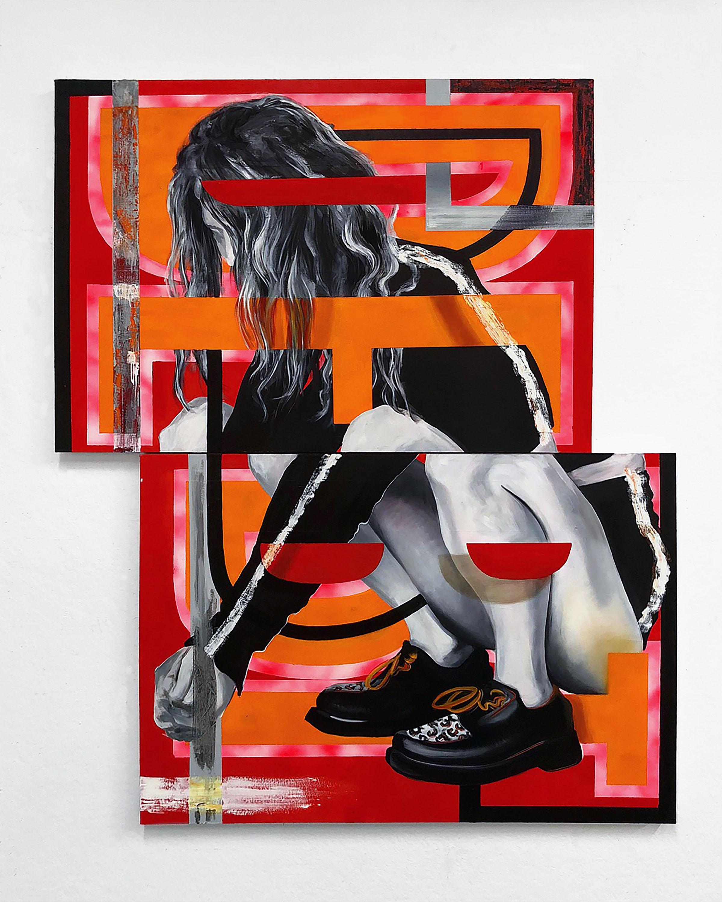 "Debt    28 x 40"" (each, diptych), oil and spray paint on canvas"