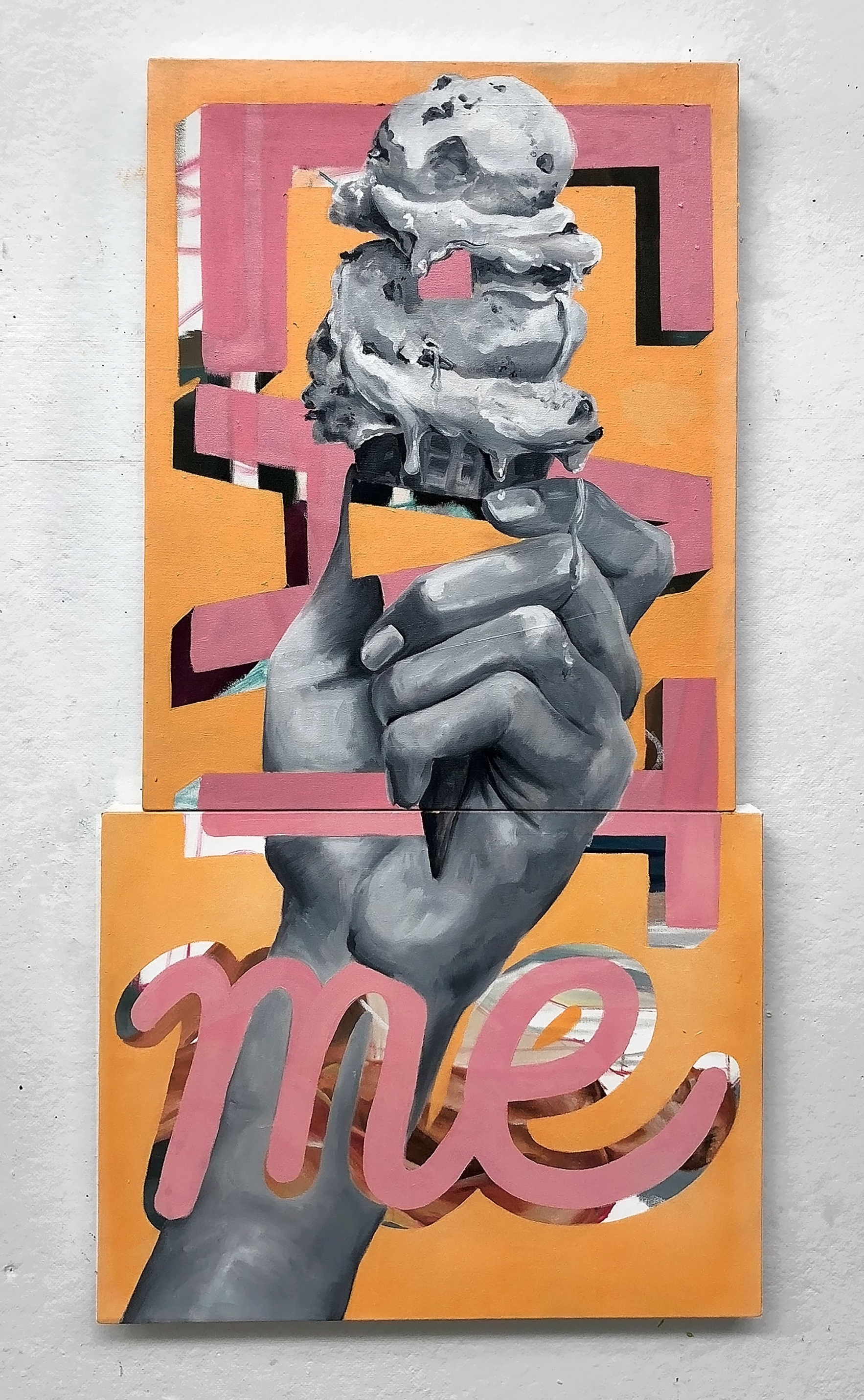 """Eat Me   18 x 24"""" and 16 x 20"""" diptych, oil on canvas"""