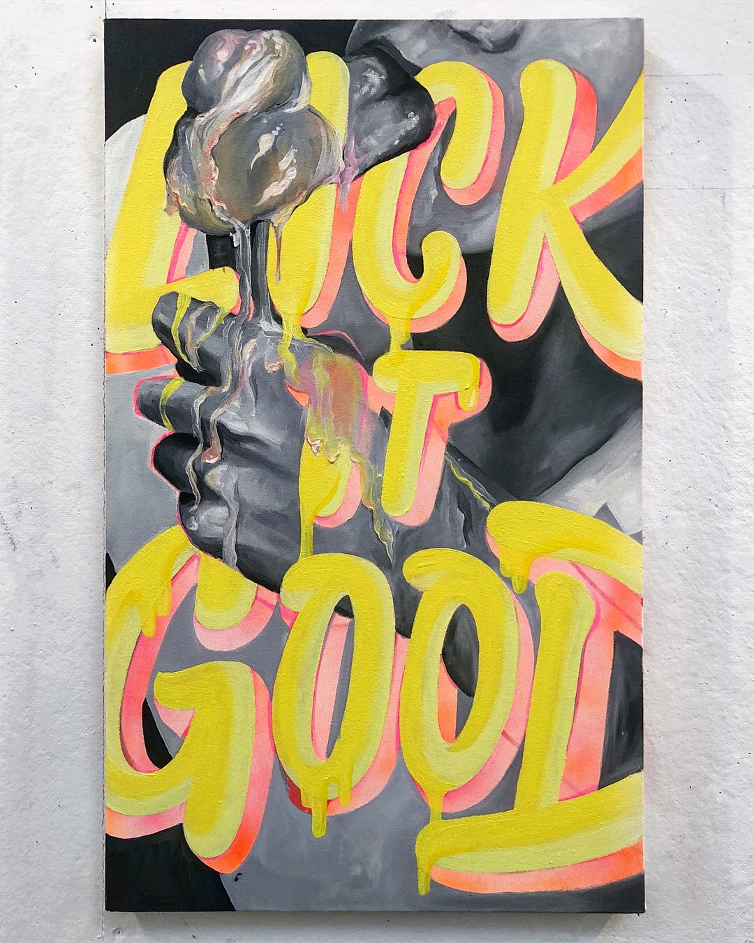 """Lick it Good   18 x 30"""", oil and spray paint on canvas"""