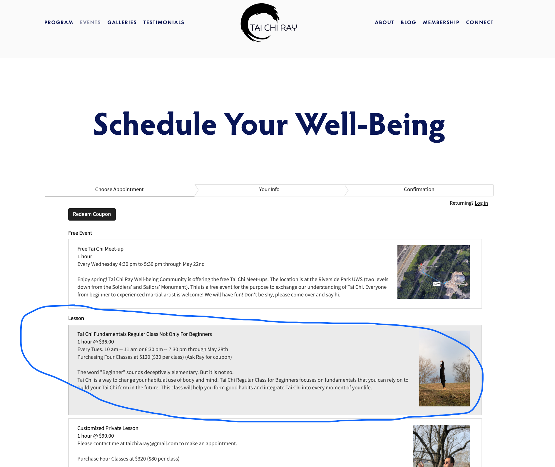 Tai Chi Ray Community UWS | Manhattan — Online Booking System User Guide