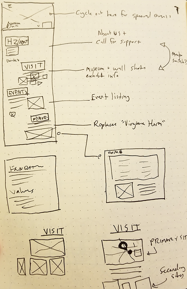 Sketches showing a potential homepage layout for a war memorial website.