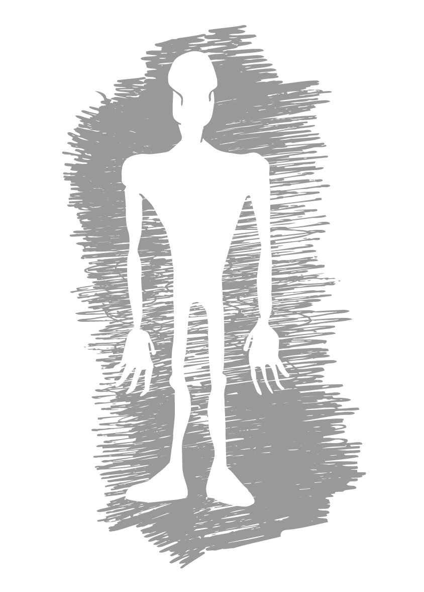 An illustration showing a blank silhouette against a scribbled dark background