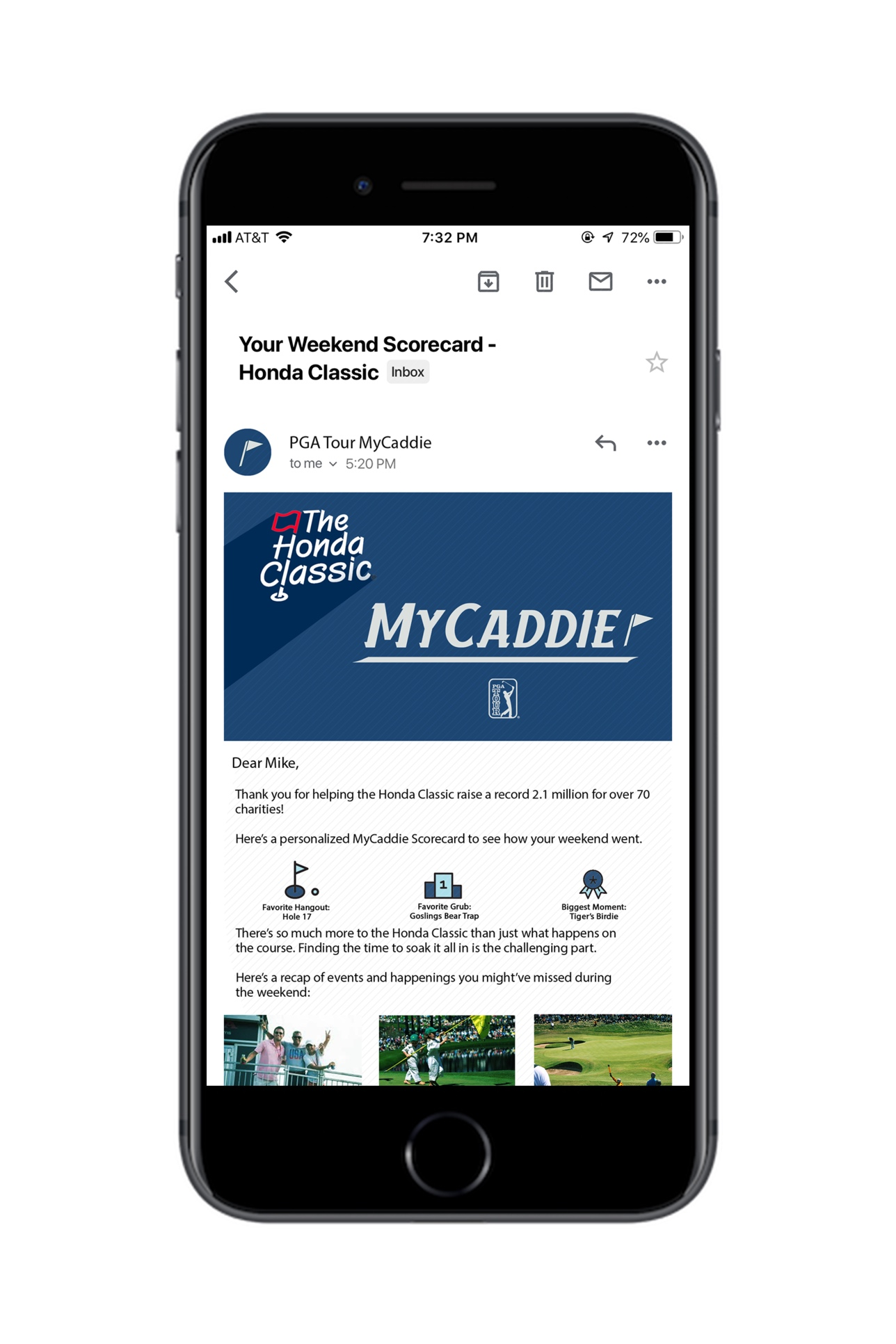MyCaddie score card email, showing people what they may have missed.