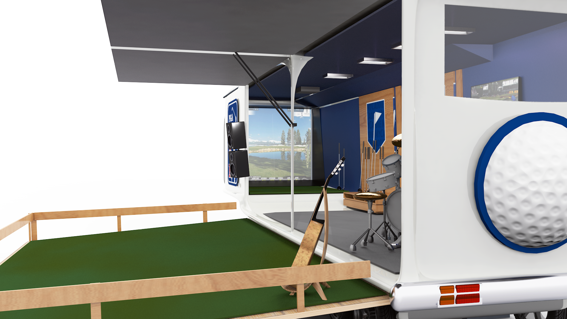 Interior of trailer showing golf simulator