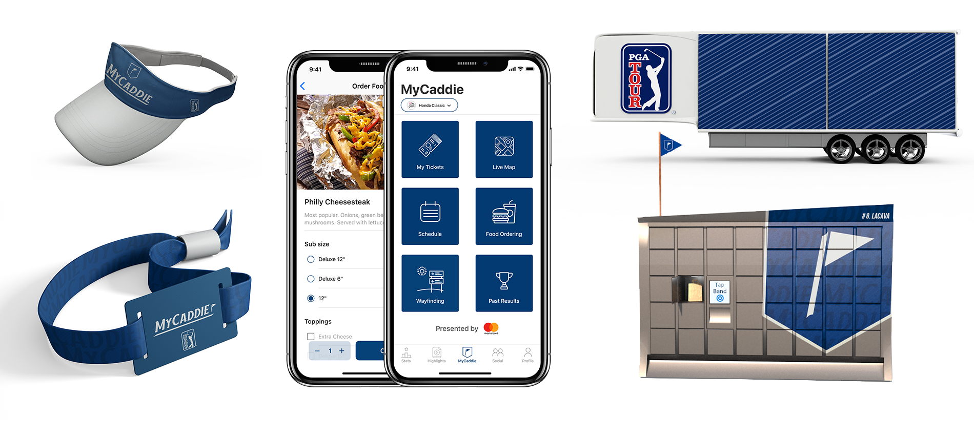 Various MyCaddie components, including an RFID band, app, locker, trailer and hat.