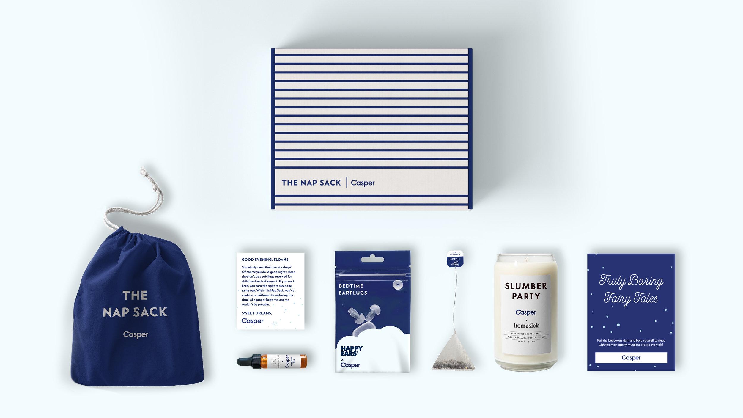 A box, bag, tea, and candle