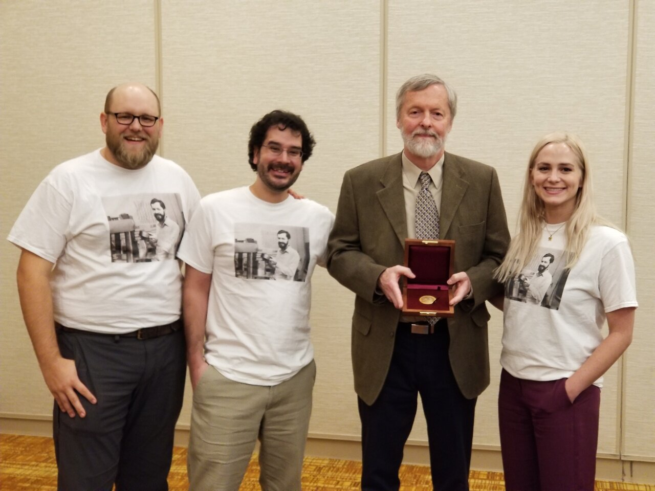 RPI alumni celebrate Bruce Watson's Roebling Medal at GSA 2018 (check out young EBW on our shirts!)
