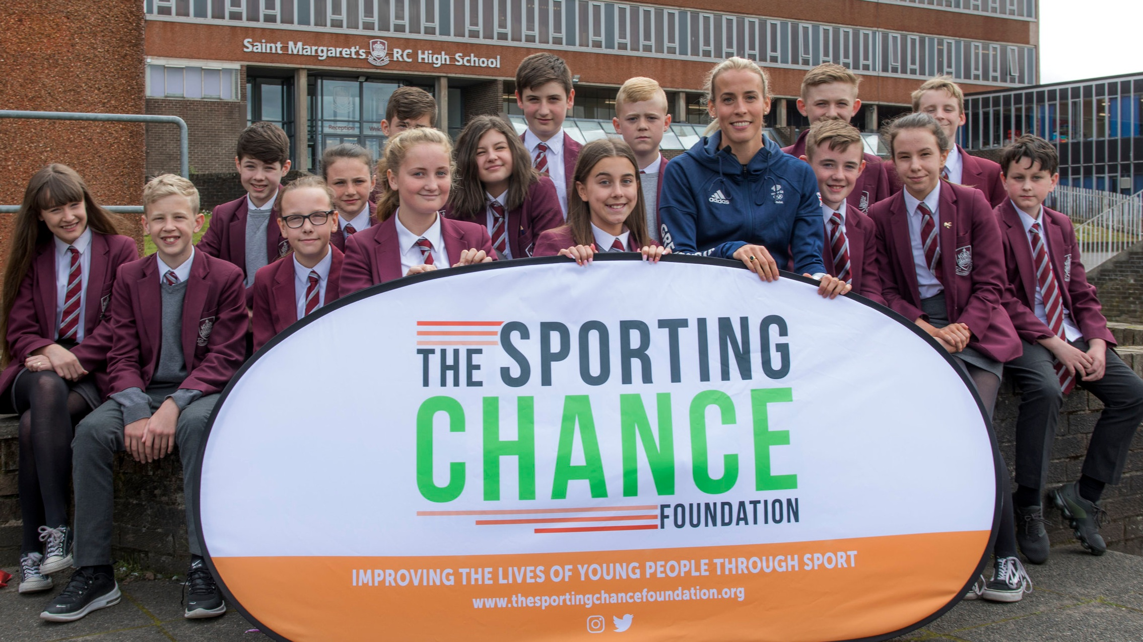 Olympian Lynsey Sharp with the pupils of St Margaret's High School