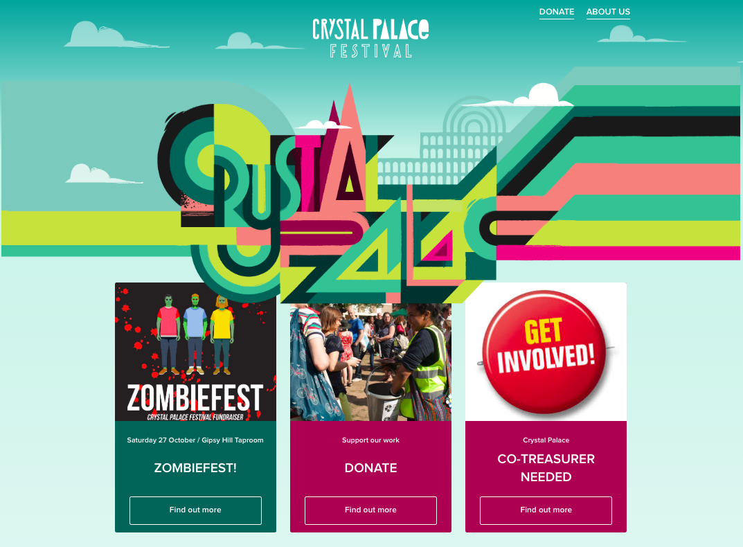 Crystal Palace Festival 2018, homepage