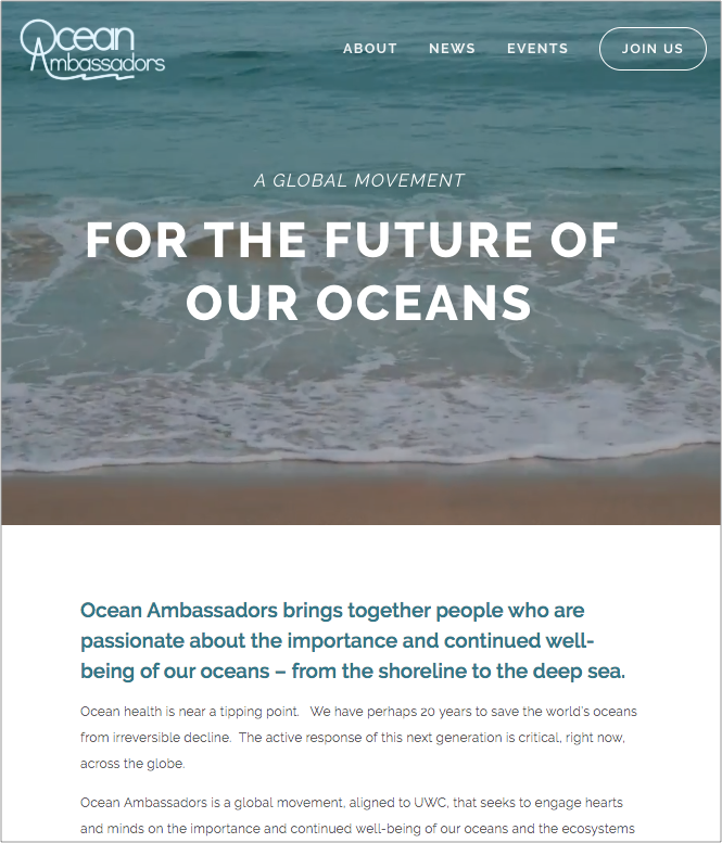 Ocean Ambassadors, homepage