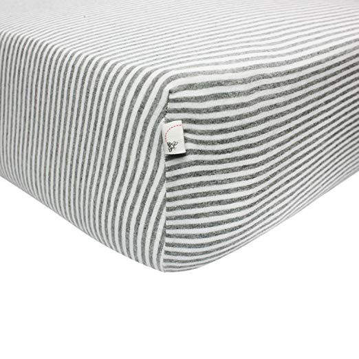 Burt's Bees Baby - Fitted Crib Sheet, Thin Stripes, 100% Organic Cotton Crib Sheet For Standard Crib and Toddler Mattresses (Heather Grey) - $15.79