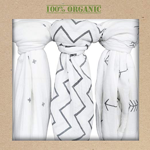 Organic Muslin Swaddle Blankets, Get the Safe & Soft Cuddly Feel - 2 Bibs Gift - $24.94