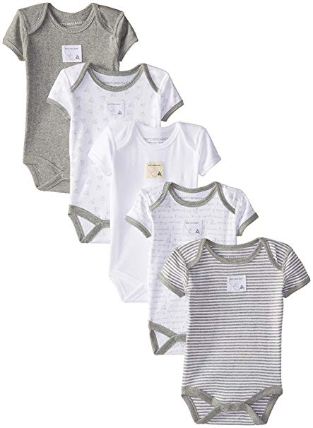 Burt's Bees Baby Unisex Baby Short Sleeve Bodysuits, Set of 5, 100% Organic Cotton - $24.95