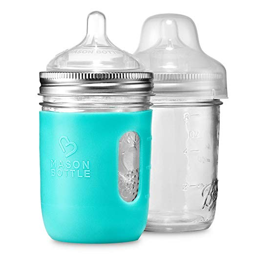 8 oz. Mason Bottle DIY Kit: BPA-Free Glass Baby Bottles You Can DIY Using Mason Jars From Home, Made in the USA - $19.99