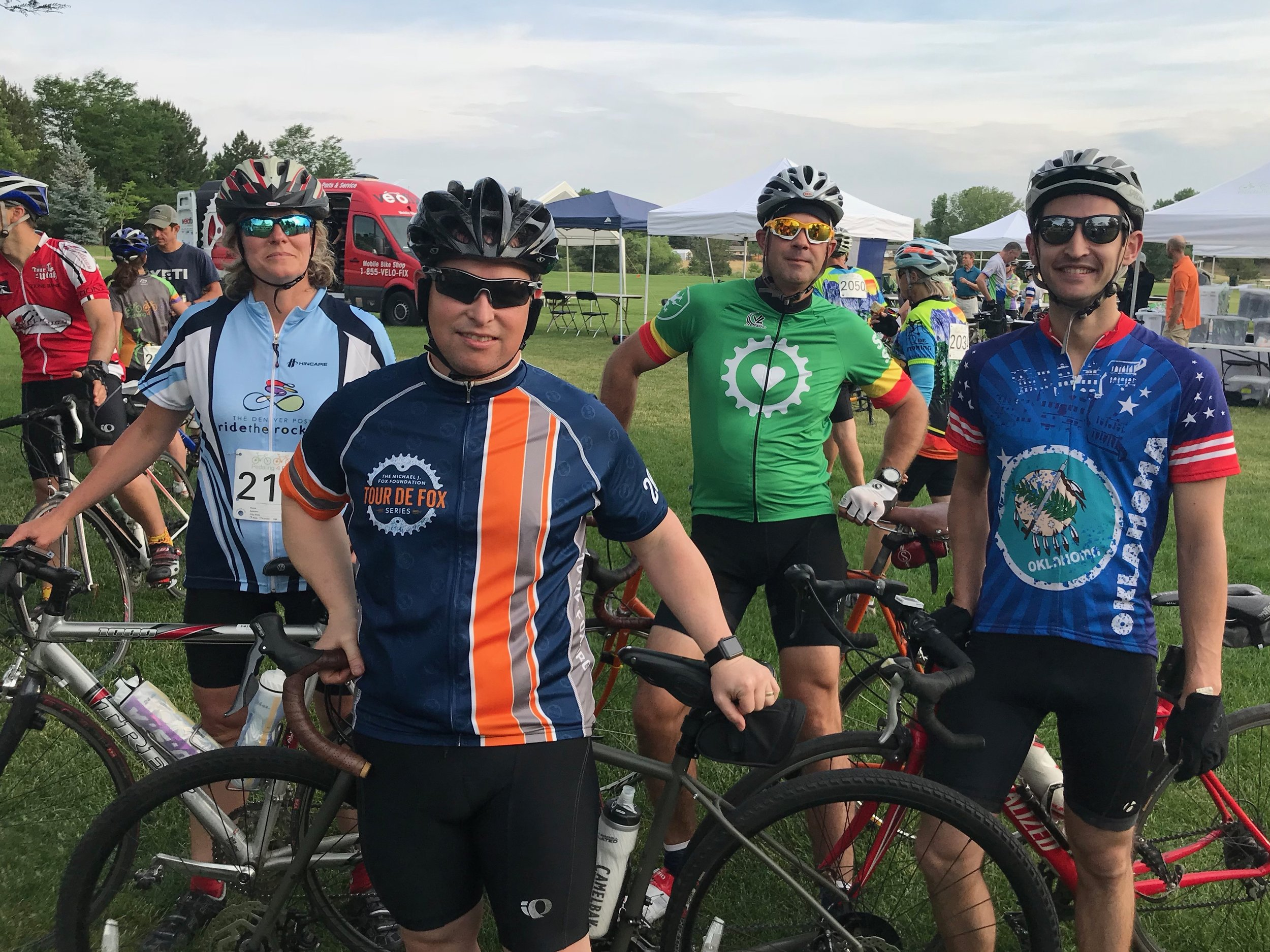That's me (short guy with the black helmet) and some of my dear friends participating in Pedaling for Parkinson's in 2018. We did the 60-mile route!