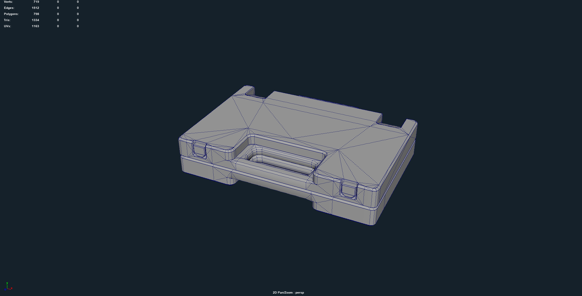 Closed model, without interior at 1,334 triangles.