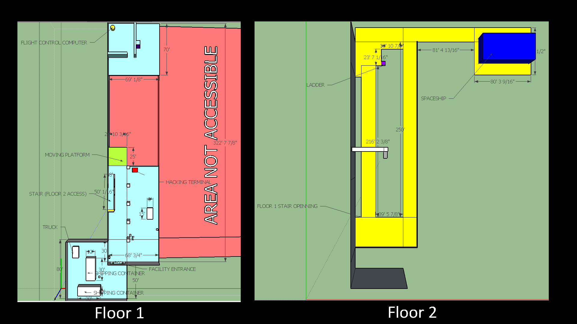 A quick overhead map of our first level built in SketchUp.