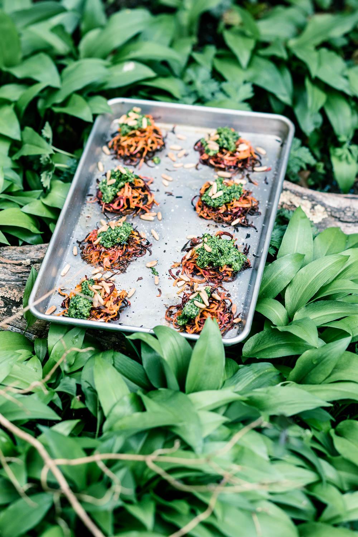 Gemüsenester mit Bärlauchpesto - veggielicious | gemüse. fotos. rezepte.