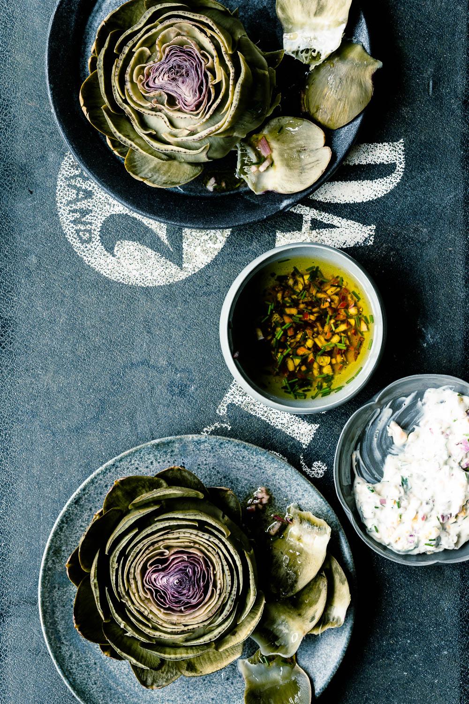 Gekochte Artischocken und zwei klassische französische Saucen zum Dippen - veggielicious   gemüse. fotos. rezepte.