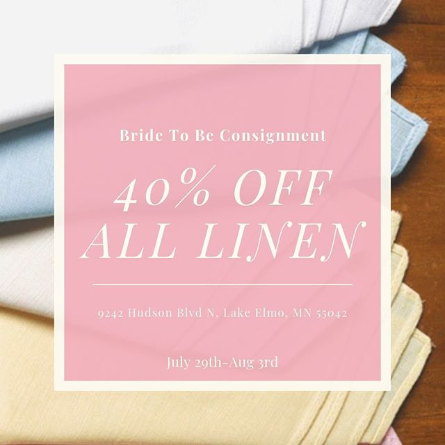 40% OFF ALL LINENS AT WOODBURY! (Discount is off the highest price on tag)  Starts today till August 3rd
