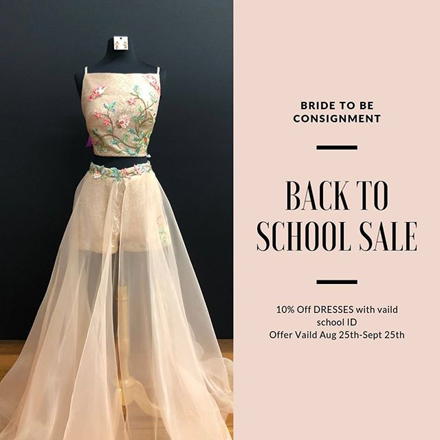 BACK 2 SCHOOL SALE!  Balling on a budget isn't hard at Bride to Be! Students with a valid school ID can get 10% off their dress for their next event! Only Aug 25th -Sept 25th!  You can be the Cinderella at your HOCO dance! Or the best looking bridesmaid! Whatever your event is, we have it for you!  This offer is ONLY applies to FORMAL dresses! With a Valid School ID.  #hoco2019 #hoco2k19 #bridetobe #bridetobesale #bridetobewoodbury