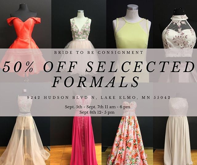 BACK TO SCHOOL SALE!  50% off SELECTED formals! Go to school in style and in TOP designers!  Bride to Be has the PERFECT hoco dress for every girl!  Or any event!  50% off Selected Formals (Sept. 5th- 8th)  20% off ALL formals with a student ID the ENTIRE month of September!  Discount(s) can not be stacked, Discount will be removed off the largest price on tag, Discount is taken off at the register.  #homecoming #hoco #hoco2k19 #bridetobewoodbury #bridetobesale