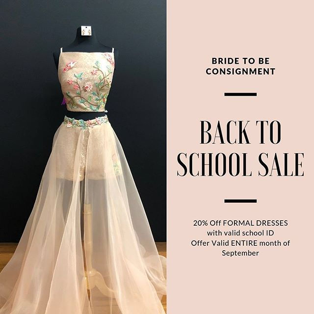 BACK TO SCHOOL SALE!  50% off SELECTED formals! Go to school in style and in TOP designers!  Bride to Be has the PERFECT hoco dress for every girl!  Or any event!  10% off August 25th - 31st ALL formals with a School ID  50% off Selected Formals (Sept. 5th- 8th)  20% off ALL formals with a student ID the ENTIRE month of September!  Discount(s) can not be stacked, Discount will be removed off the largest price on tag, Discount is taken off at the register.  #homecoming #hoco #hoco2k19 #bridetobewoodbury #bridetobesale