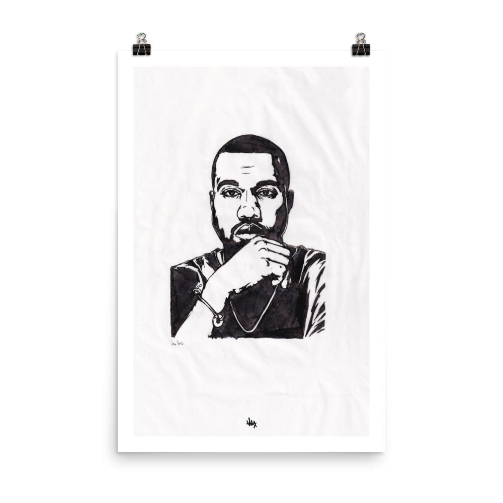 'Yeezy' - Kanye West Portrait Illustration in Ink