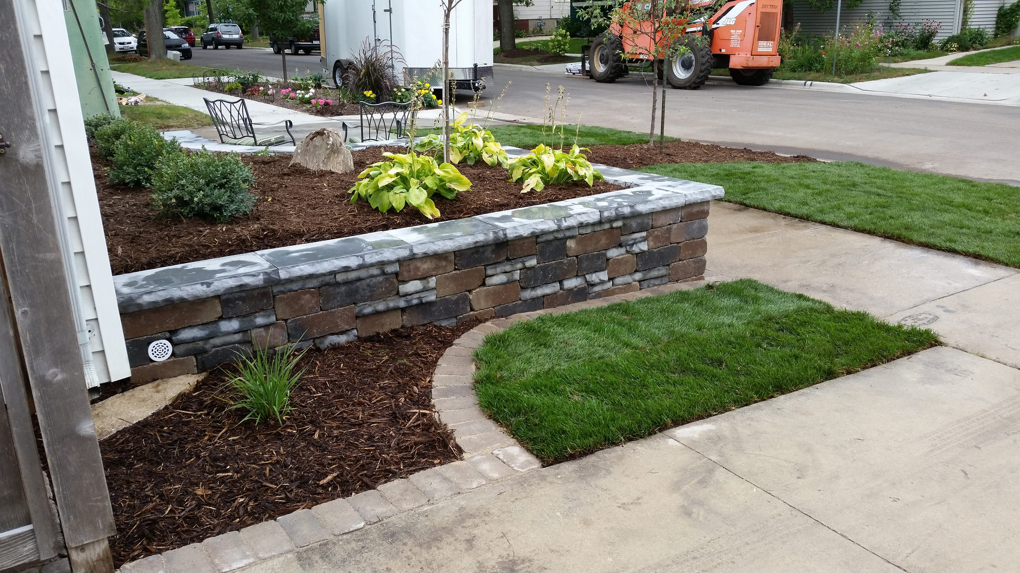 Retaining wall by landscaping company in Madison WI