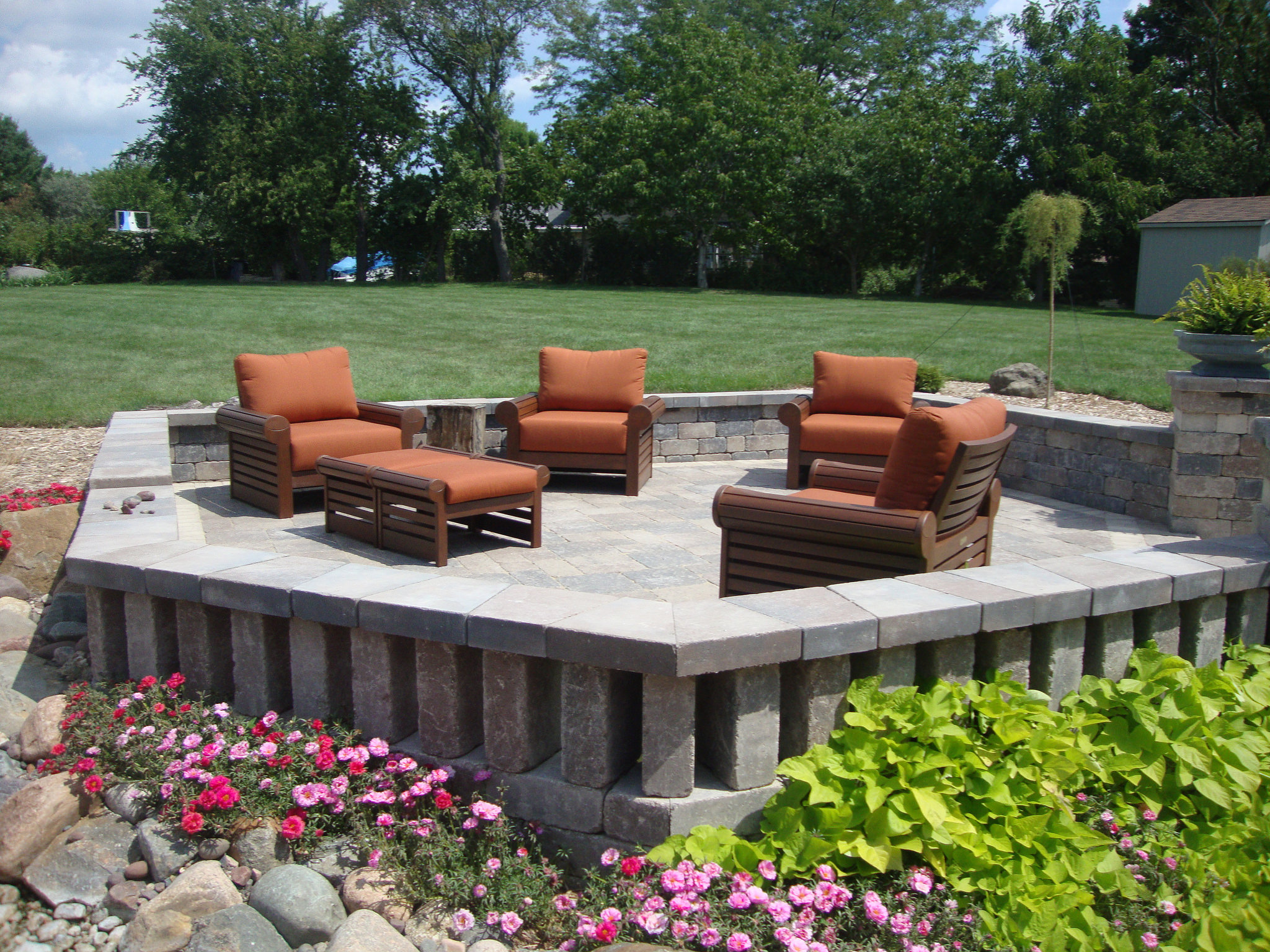Outdoor patio with plantings in Madison WI