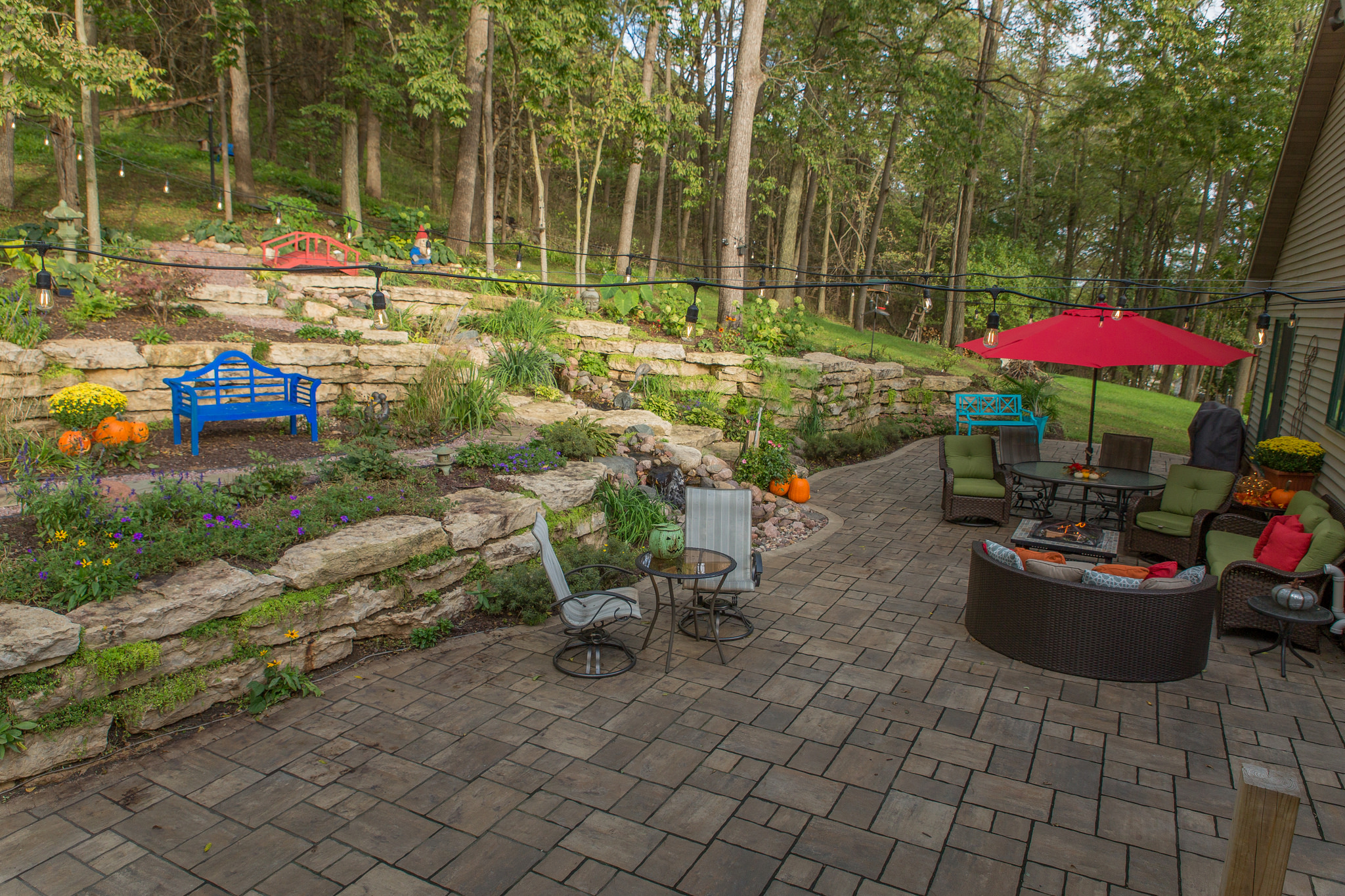 Landscape design in Fitchburg WI - patio pavers by Unilock contractor