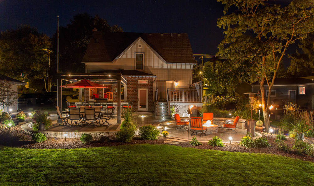 Landscape design in Madison WI - landscape Lighting, retaining wall and patio