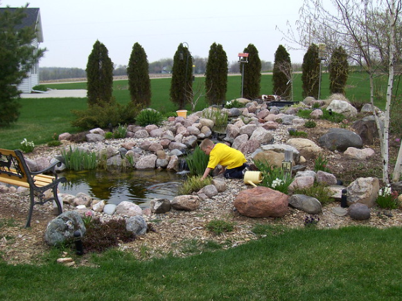 Incorporating Stone Around Your Pond in Middleton, WI