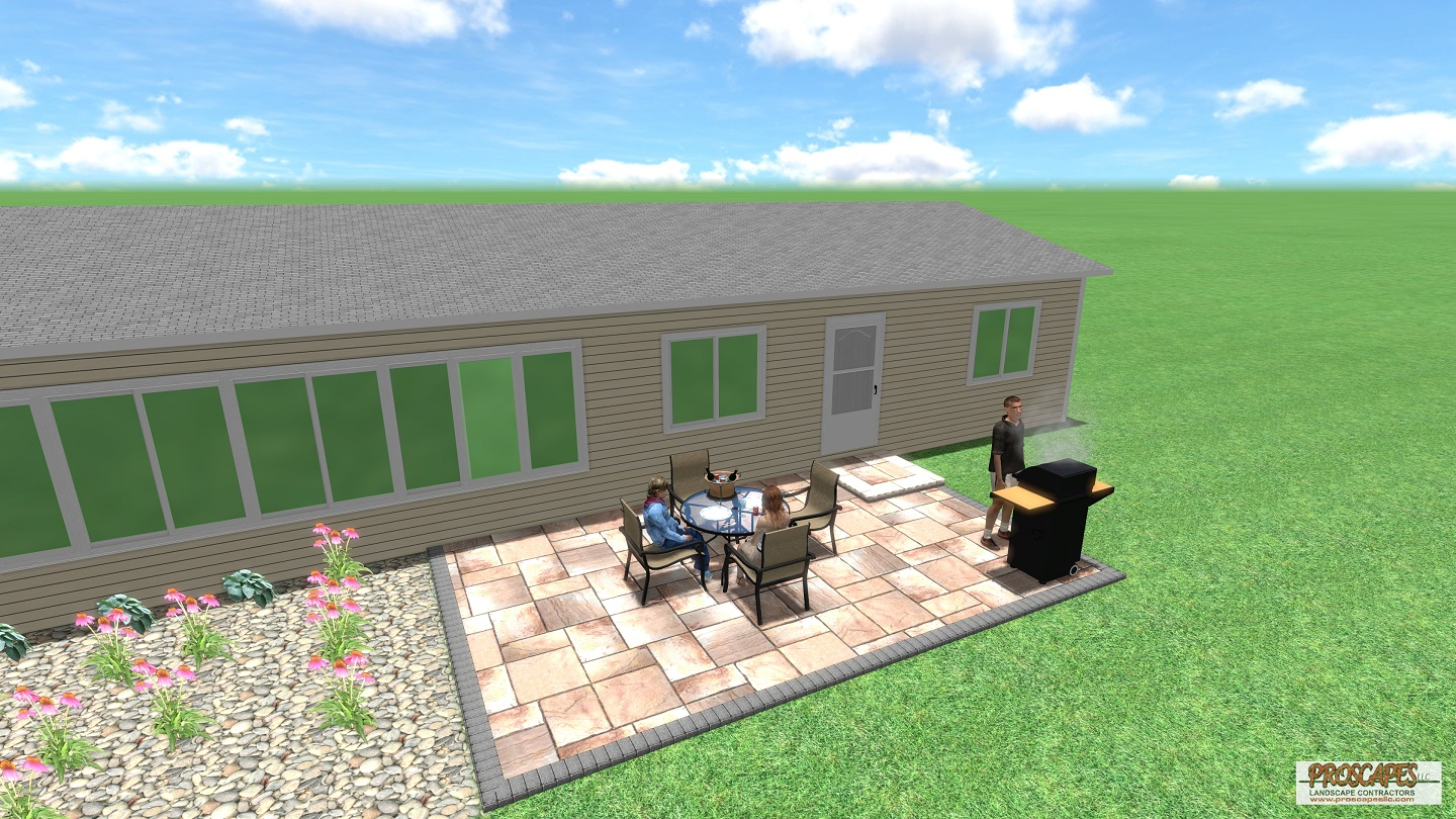 Approximate price: $12,000 - Spacious enough for a large family dinner, this simple and attractive paver patio with a beautiful brick border will add substantial value and sophistication to your home. It easily accommodates a grill and dining area or a few lounge chairs to soak up the sun.
