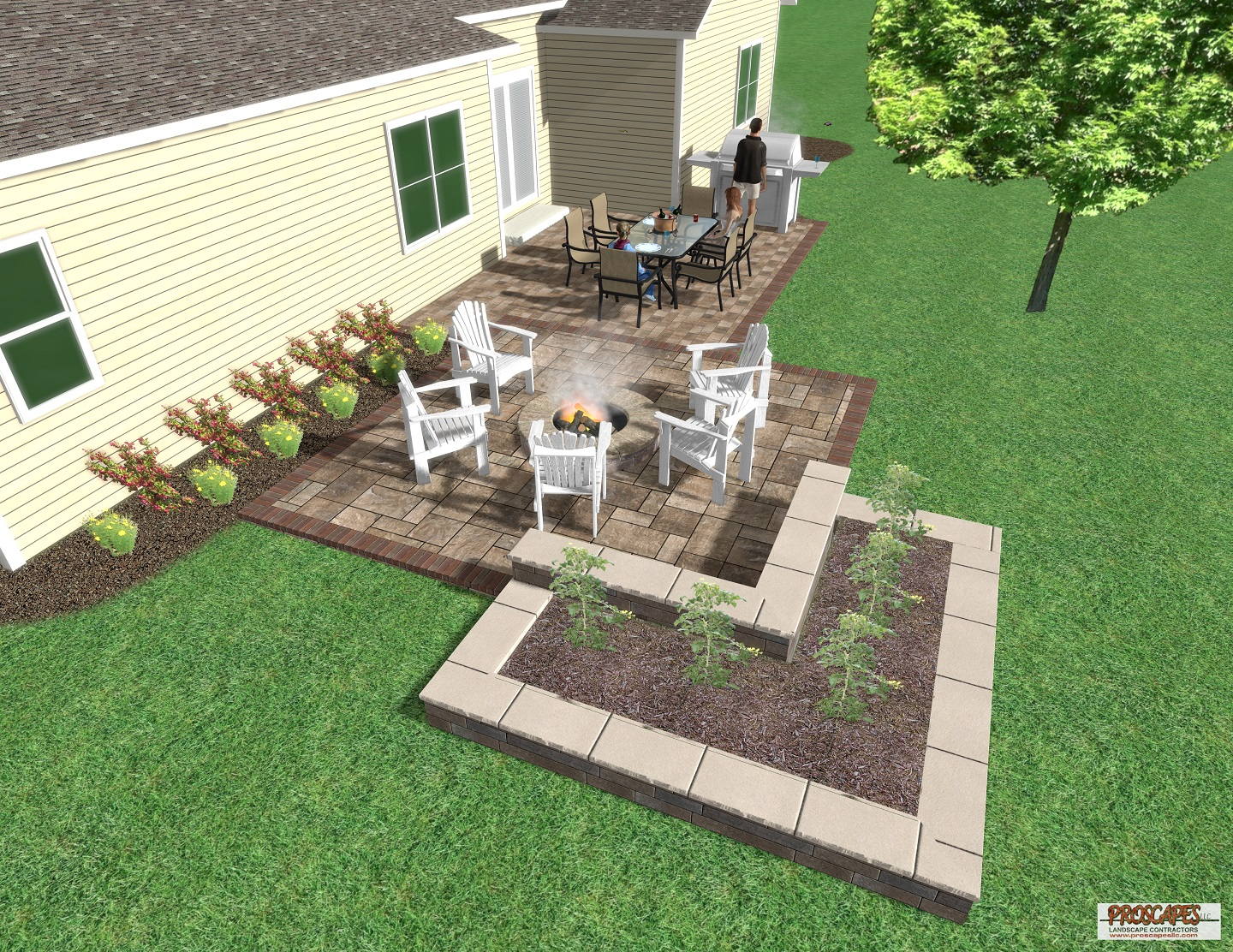 Approximate price: $30,000 - This sophisticated paver patio features two distinct outdoor rooms: a spacious cooking/dining area and a relaxing fire pit area. The patio blends beautifully into its surroundings with a raised bed of greenery and a raised planter that doubles as a seat on the patio side.