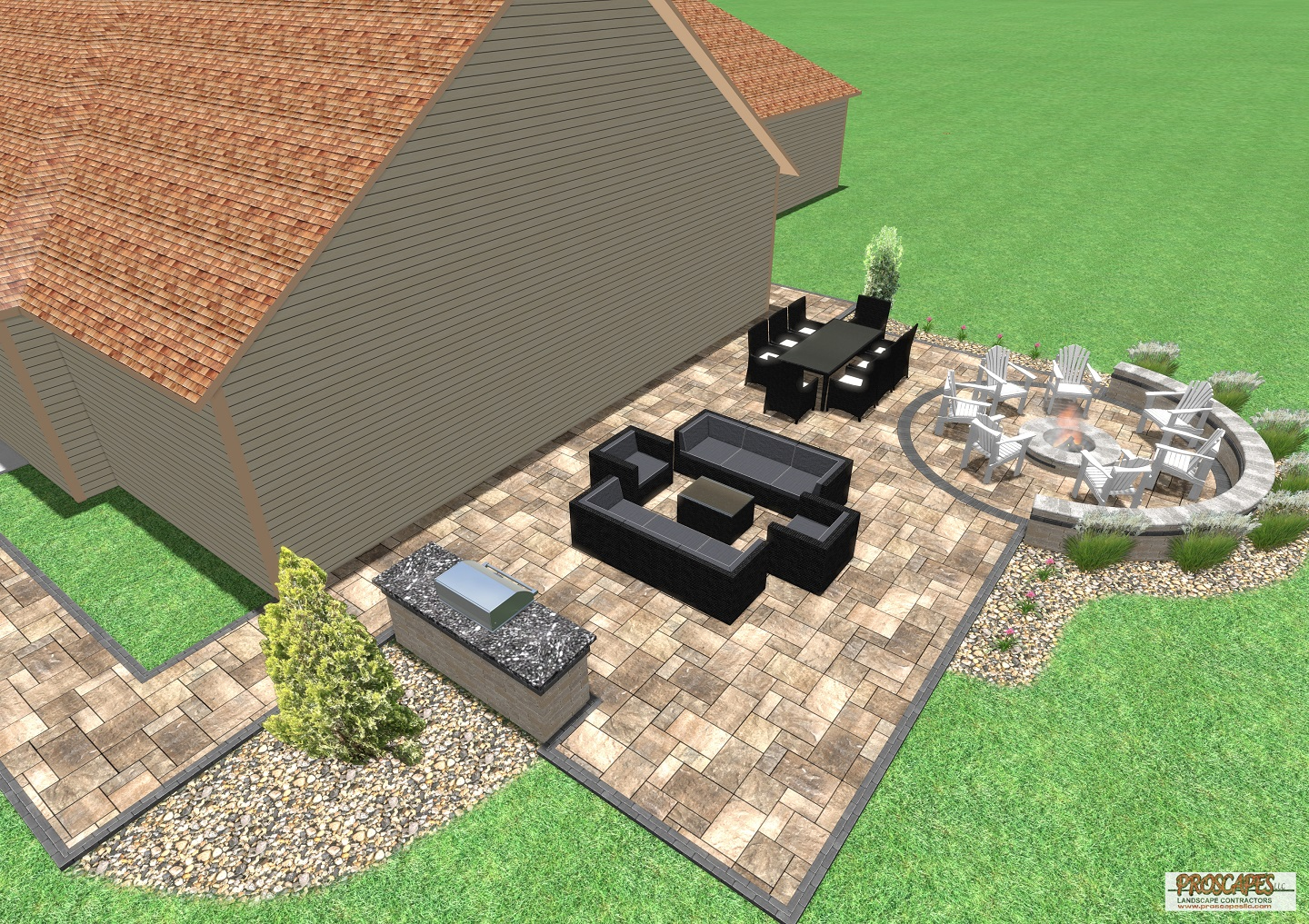 "Approximate price: $60,000 - An entertainer's paradise, this paver patio is designed for large gatherings. This outdoor ""great room"" is single expansive space for cooking in the outdoor kitchen, dining, relaxing, and sharing stories around the fire pit. A contrasting paver border encloses the patio and walkway, and defines the fire pit area and walkway. The project also included a professional grill and landscape lighting."